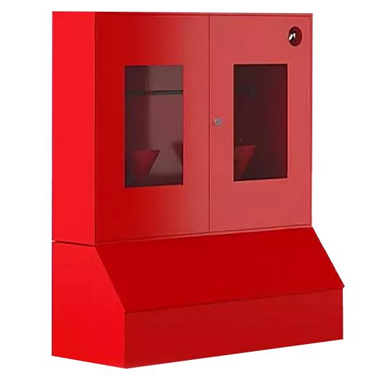 d017f5712f606b5124b08c8b42cde25b - Пожарный стенд металлический закрытого типа (с окнами) с ящиком для песка